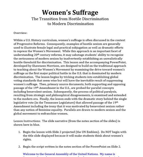 Women's Suffrage Simulation