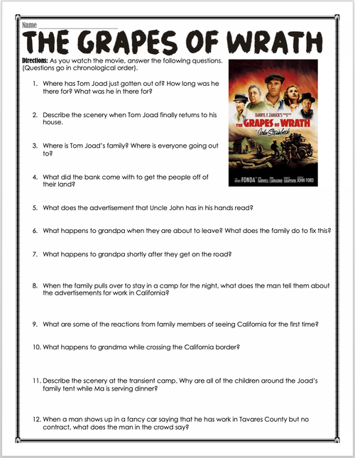 The Grapes of Wrath Movie Guide