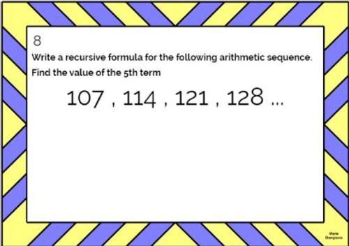Arithmetic Sequences: Recursive and Explicit Formulas: GOOGLE Slides - 20 Problems