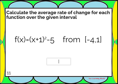 Average Rate of Change of Non-Linear Functions : BOOM Cards- 20 Problems