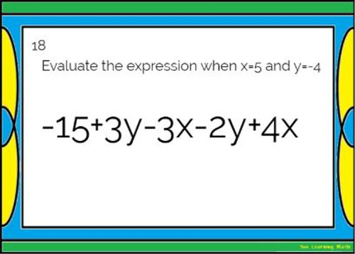 Combining Like Terms and Evaluating Algebraic Expressions: GOOGLE Slides