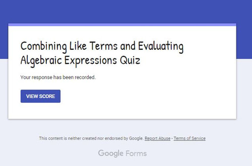 Combining Like Terms and Evaluating Algebraic Expressions: GOOGLE FORMS QUIZ- FREE