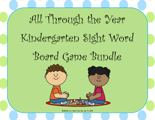 All Through the Year Kindergarten Sight Word Board Game Bundle