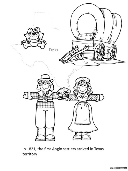 Texas History Coloring Sheets and Timeline (1821-1848