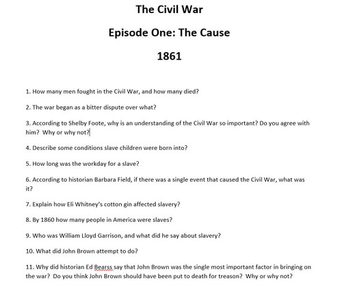 Civil War Ken Burns Video Questions: All 9 Episodes - Over 200 Questions