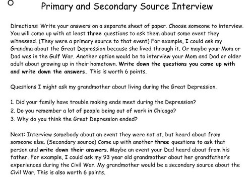 Primary and Secondary Source Interview