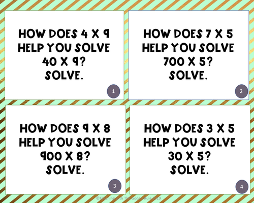 Fourth Grade Math Task Cards