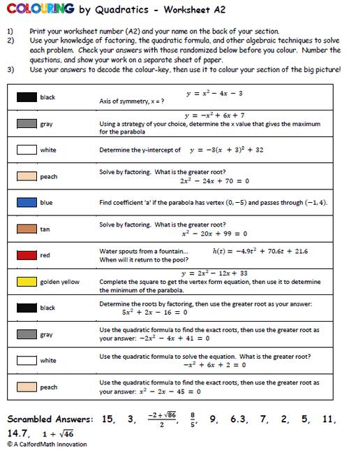 A sample problem set page *accompanied by a colour-by-number grid.)