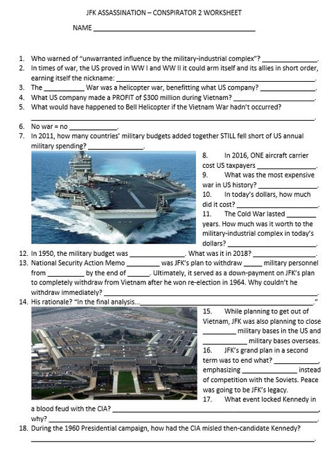 JFK Assassination - Conspirator 2 Worksheet & Answer Key