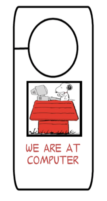 """Snoopy Themed """"We Are At"""" Door Hangers"""