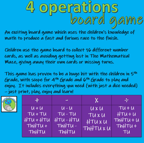 Maths Four Operation Board Game - for up to 8 players