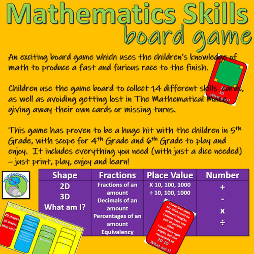 Mathematic Skills Board Game (4 ops, shape, fractions, place value)