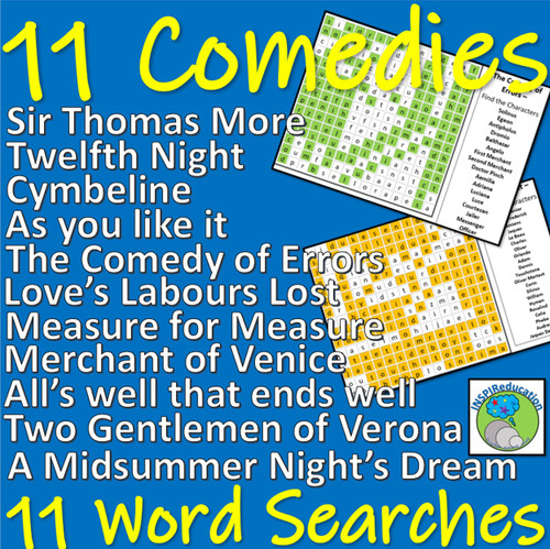 Shakespeare - The Comedy Plays - 11 word searches for character names