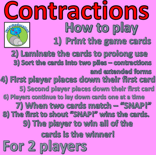 Contractions - Snap! Game, embed knowledge of contracted and expanded forms