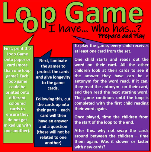"Antonyms (opposite meaning) Loop Game - ""I have... Who has...?"" 45 Pairs of words"