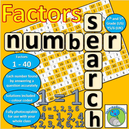 Factors in numbers 1 - 40: Number search. Solve the problems to find the factors