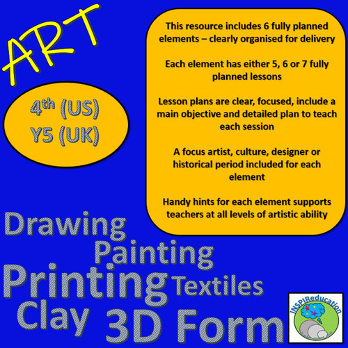 Art Lessons - 4th Grade (Y5 UK), Artists, Skills, Hints, Resources