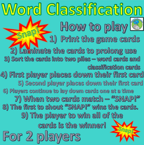 Word Classification - Snap! Game - 9 Word Classes included (Print, Cut and Play)
