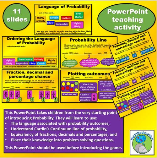 Probability Activity Bundle, PowerPoint Lesson, Games, Posters
