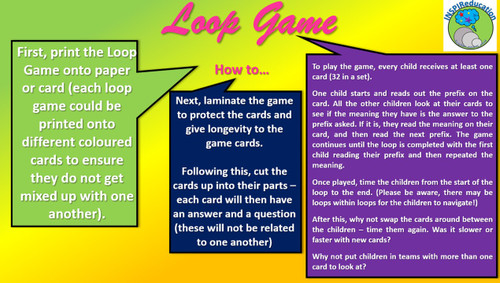 "Affixes/Prefixes Loop Game (32 Affixes and their meanings), ""I have... Who Has..?"""