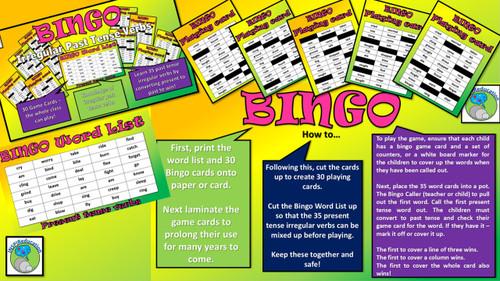Irregular Verbs - 5 Activities to Support Teaching (Dominoes, Bingo Game, Flash Cards, Cloze Procedure, Loop Game)