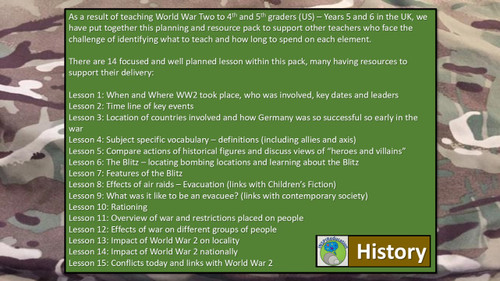 World War 2: 15 Lesson Plans and associated resources