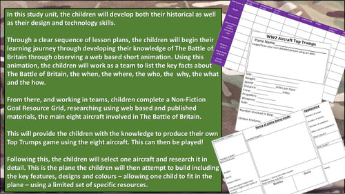 World War 2: Battle of Britain (STEM) History and DT Project, lesson plans, resources and web links