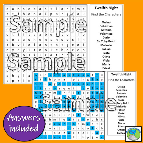 William Shakespeare - Twelfth Night (Character Wordsearch)