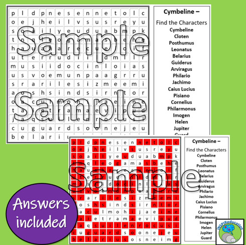 William Shakespeare - Cymbeline (Word Search for Character Names)