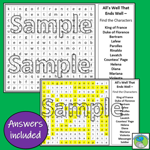 William Shakespeare - All's Well That Ends Well (Word Search Character Names)