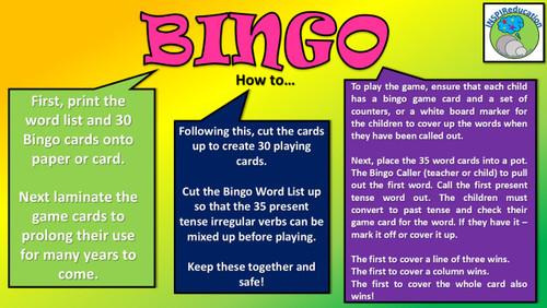 Irregular Past Tense/Present Tense Verb Bingo (30 Players)