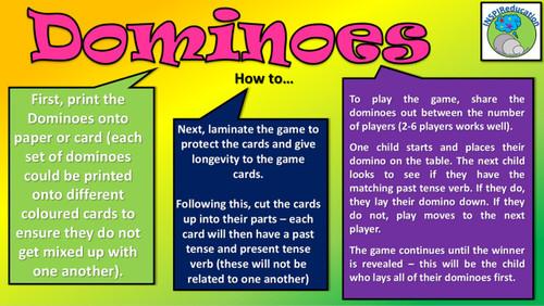 Regular and Irregular Verb Tense - Past and Present - Dominoes (36 Cards)