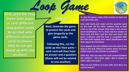 """Word Classification - 10 Word Groups, 50 Cards: Loop Game - """"I have... Who has..?"""""""