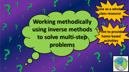"""Math Problem Solving - Number: Multi-step solutions (""""I think of a number... What number is it?)"""