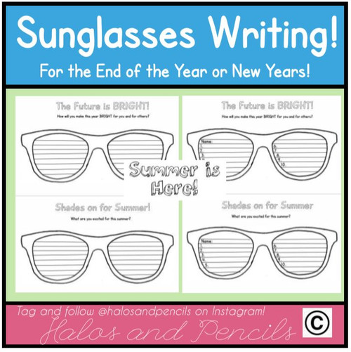 a7e5084da2cc Celebrate Summer with this fun sunglasses writing craftivity! Multiple  versions included.