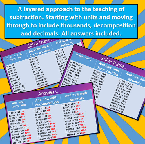 Subtraction - From Simple Questions to Mastery, including decimals