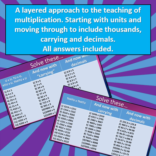 Multiplication - From Simple Questions to Mastery - including decimals