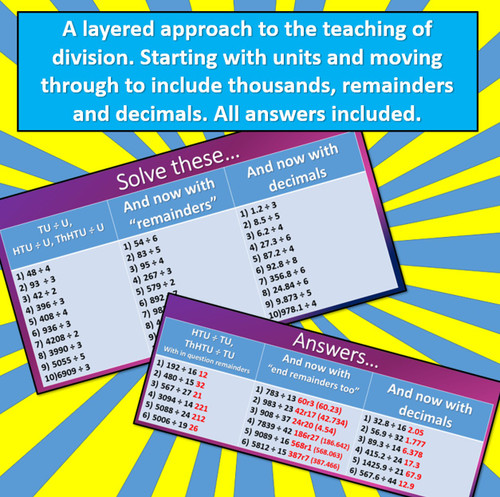 Division - From Simple Questions to Mastery - including decimals and including answers