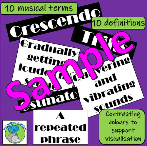 Musical Vocabulary and Definition Flashcards