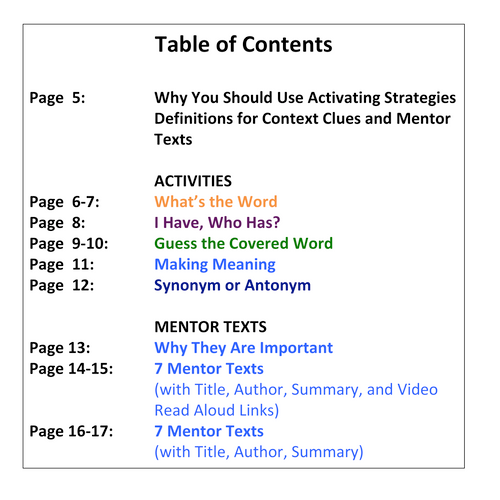 Comprehension Strategy: Context Clues: Cross-Curricular: Teacher Task Cards