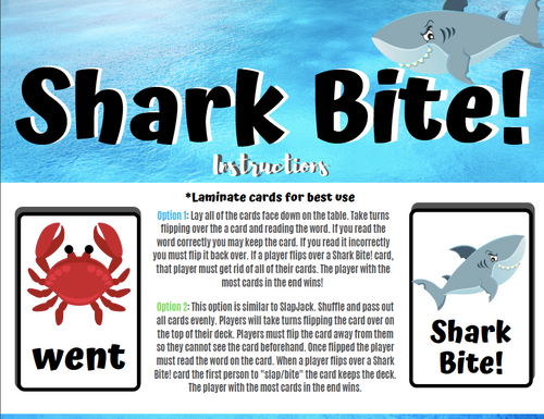 Shark Bite! A First Grade Sight Word Card Game