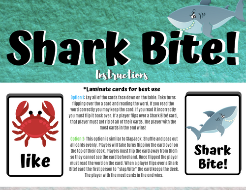 Shark Bite! A Kindergarten Sight Word Card Game