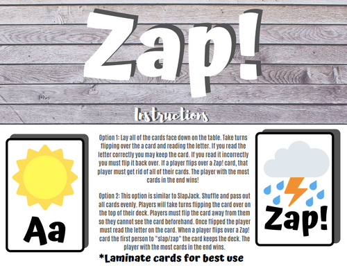 Zap! An alphabet card game