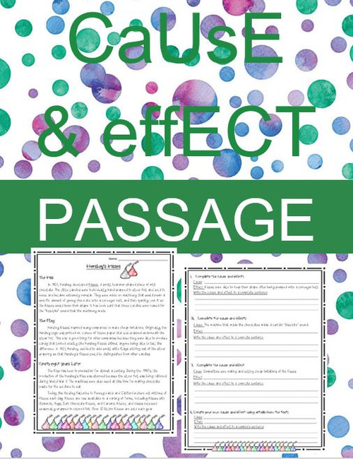 Hershey Kisses Nonfiction Reading Passage Comprehension Questions Cause & Effect, and Writing Prompts