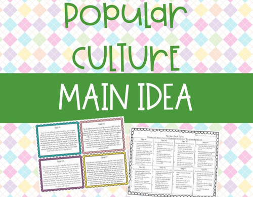 Nonfiction Main Idea Task Cards - Popular Culture (Fortnite, Slime, and more!)