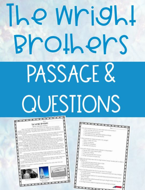 The Wright Brothers Reading Passage and Comprehension Questions Social Studies