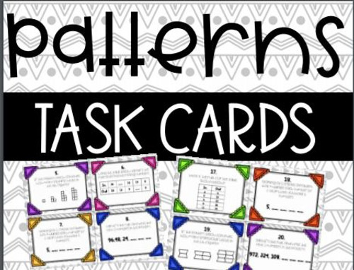 Math Patterns Task Cards Numerical, Geometrical, Input Output Tables
