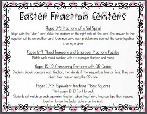 Spring Easter Fraction Centers Equivalent, Comparing, Mixed Numbers, Multiply by a Whole Number
