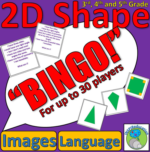 2D Shape Bingo - Images and Descriptions - for up to 30 Players