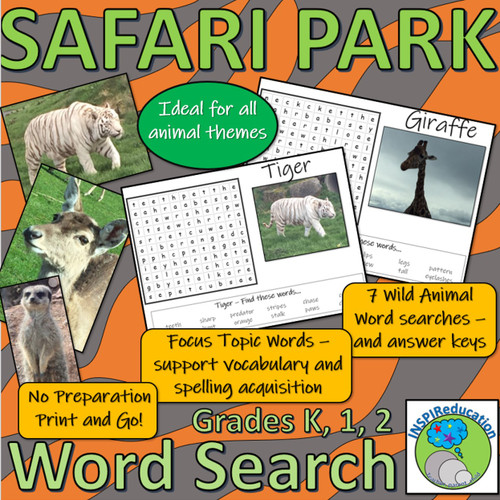 Wild Animal Wordsearch - 7 Word Searches to find features of different animals